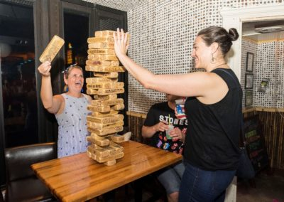 Women Playing Giant Jenga
